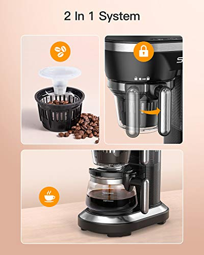 Sboly Grind and Brew Automatic Coffee Machine, Single Cup Coffee Maker with a 12oz Glass Coffee Pot and Built-in Coffee Grinder, Black