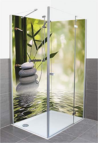 Artland Duschrückwand Eck mit Motiv Fliesenersatz Alu Rückwand Dusche Duschwand Bad 2 Segmente Wunschmaß Natur Zen Wasser Steine Bambus Grün R2PS