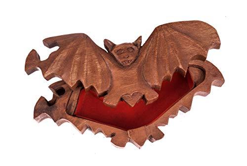 WINDALF Gothic Schmuckdose FLAPP 18 cm Steam Punk Geschenkdose Fledermaus Schmuckschatulle Handarbeit aus Holz