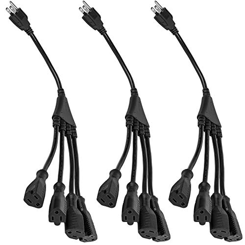 "4 Way Power Splitter – 1 to 4 Cable Strip With 3 Pronged Outlet and 3"" to 12"" Foot Y Style Extension Cord – Black - SJT 16 AWG – By Luxury Office (3 Pack, 1.5' Extension Cord)"