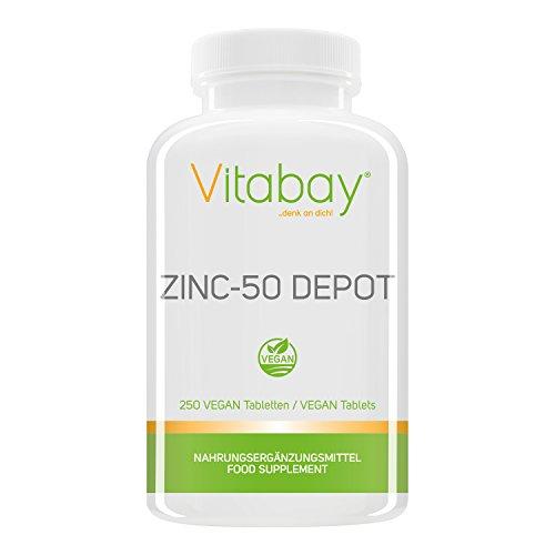 Zinc-50 Depot - 25 mg Zink Elementargehalt pro Portion - aus Zink Gluconat - 250 vegane Tabletten