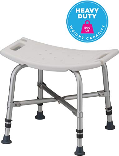 Nova Heavy Duty Shower & Bath Chair, 500 lb. Weight Capacity, Quick & Easy Tools Free Assembly, Lightweight & Seat Height Adjustable, Great for Travel Deluxe Bariatric Bath Bench
