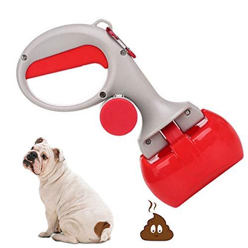 hanbby Recogedor Excrementos Perro Bolsas Caca Perro Caca de Gato Bolsas Caca removedor para Bolsa residuos Caca Limpiador Caca de Abrazadera de Scoop Red