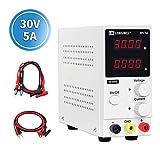 Labornetzgerät, LONGWEI 0-30V 0-5A DC Regelbar, Labornetzgerät DC mit 4-stelliger LED-Anzeige, Stabilisiert Digitalanzeige Labornetzteil Netzteil Strommessgeräte(EU Stecker 220V)