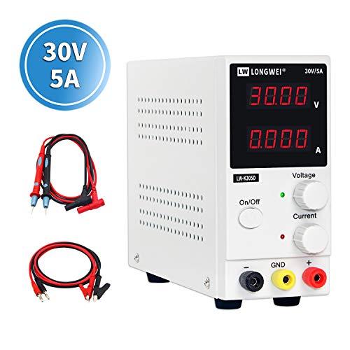 Fuente de alimentación,LONGWEI 0-30V / 0-5A, ajustable, DC con pantalla LED de 4 dígitos, conmutación estabilizada, para Laboratorio, hogar, reparación General