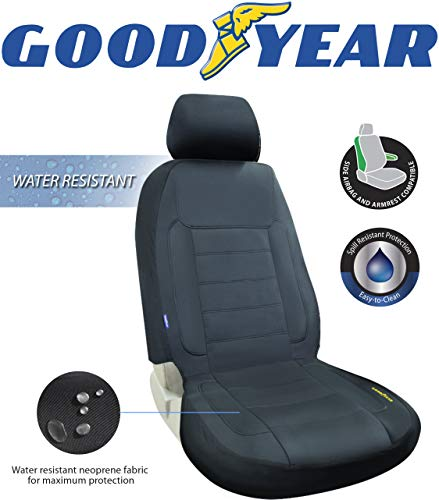"Goodyear GY1247  Water Resistant Car Seat Cover  100% Pure Neoprene Fabric for Maximum Protection  Fits Most Vehicles  Headrest Cover 10""H x 11""W  Seat 46""H x 18""W  Side Airbag Compatible"