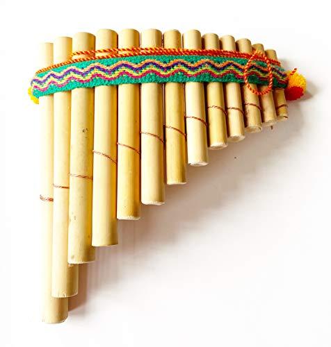 "Bamboo Professional Quality Curved Style Pan Flute Antara Siku 13 Pipe 6"" x 7"""
