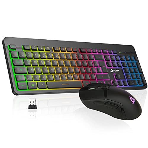 KLIM Tandem - Wireless Tastatur und Maus Set DE Layout + Schlank, Langlebig, Ergonomisch + kabelloses Maus Tastatur Set für Laptop PC Mac PS4 Xbox One+ Langlebiger eingebauter Akku + NEU 2021