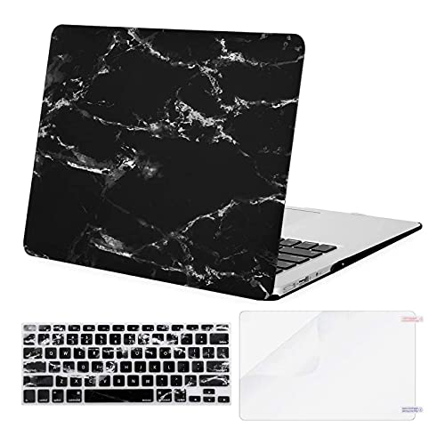 MOSISO Compatible with MacBook Air 13 inch Case (Models: A1369 & A1466, Older Version 2010-2017 Release), Plastic Pattern Hard Shell Case & Keyboard Cover & Screen Protector, Black Marble