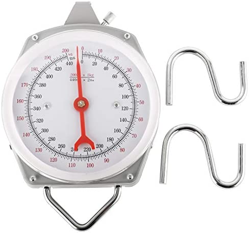 NovelBee 440lb 200kg Hanging Spring Dial Weight Scale with Two S Hooks for Kitchen Fishing product image