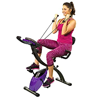 BulbHead Upgraded Slim Cycle Ultra Stationary Folding Indoor Bike with Arm Resistance Bands and Heart Monitor-Perfect Home Exercise Machine for Cardio, Purple