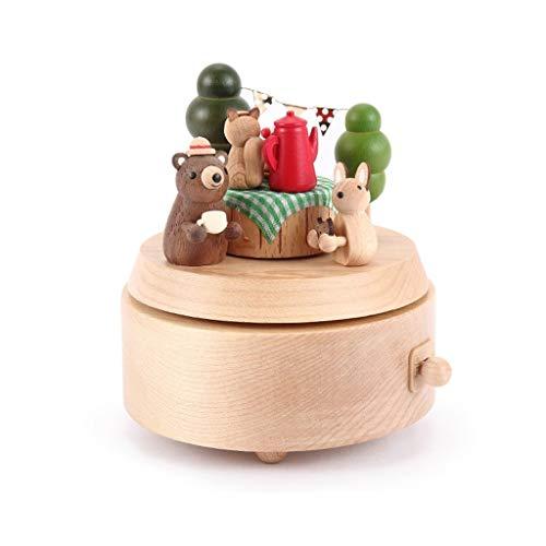 ZRNG Decoración Caja de música giratoria de decoración niña Regalo de cumpleaños del Regalo del Aniversario Adorno de la Caja de música Caja de música de Madera