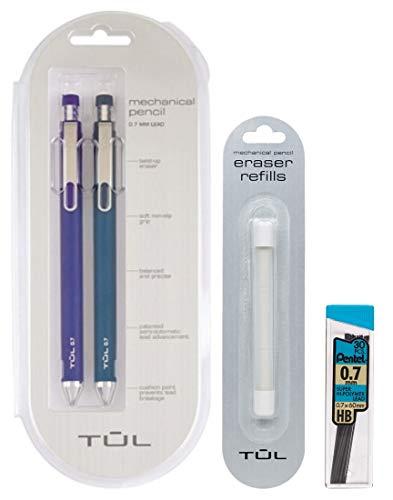 TUL 0.7mm Blue Mechanical Pencils, Eraser Refills & Lead Refills Bundle