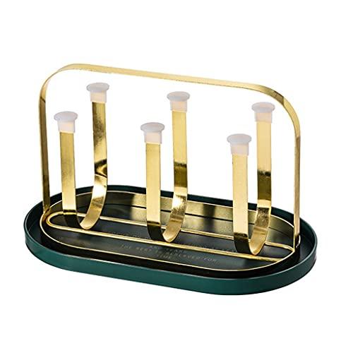 Soporte para secado de tazas Soporte para escurridor de 6 tazas Soporte antideslizante para almacenamiento de tazas con bandeja de drenaje Organizador de portavasos con estilo retro para botella de vi
