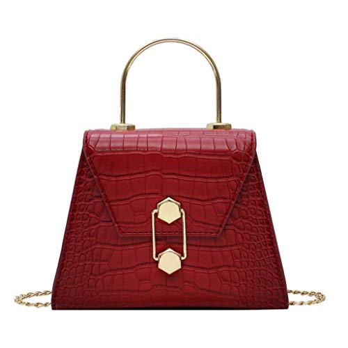 MAWOLY Neue mode schulter umhängetasche freizeit tasche kunstleder tasche lässig wilde tasche reißverschlusstasche (One size, Rot)