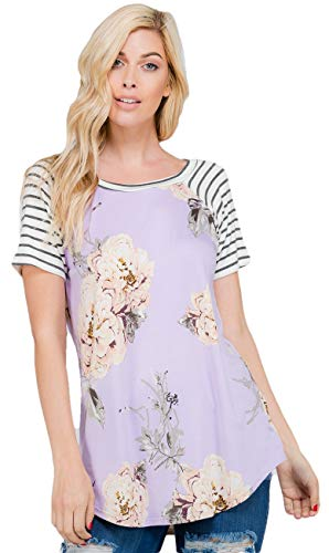 Women's Short Sleeve Tunic Shirt - Floral Print Stripe Sleeve Scoop Neck Summer Casual Longline Tee Top Blouse Made in USA 10110SS100 Lavender M