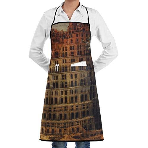 NA Kreative Turm Babylon Malerei Kochschürze Mit Taschen Grill Schürzen Für Frauen Männer Küche Kochen B