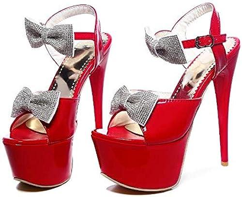 MENGLTX High Heels Sandalen Neue Sandelholze, Die Partei-Frauen Wedding Sind, Arbeiten Größe Größe 31-48 Dame schuhe Super Thin High Heel (16Cm) Pumps-Schuhe Um