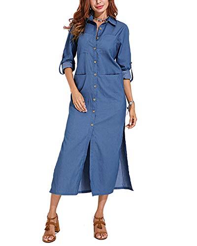VONDA Vestido de mezclilla con bolsillos y mangas con botones y dobladillo con abertura para mujer