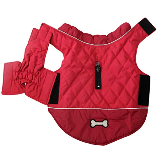 Vecomfy Reversible Dog Coats for Medium Dogs Waterproof Warm Puppy Jacket for Cold Winter,Red M