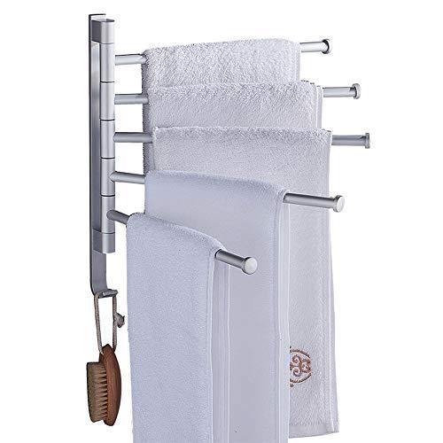 HUIHUAN Toalleros para baño - Barra de toalla giratoria de aluminio Space Out - Barra de toalla giratoria de ahorro de espacio para baño - Organizador de soporte de toalla montado en la pared