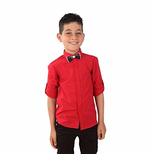 SIRRI Junge Leinen Hemd Kinder Rolle ÄRMEL Hemden viele Farben verfügbar - Junge rot Hemd, 6-12 Monate