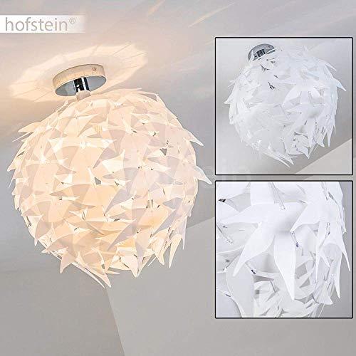 Deckenleuchte Dokkas, runde Deckenlampe aus Metall/Kunststoff in Chrom/Weiß, 1-flammig, 1 x E27-Fassung max. 60 Watt, moderne Kugelleuchte Ø 40 cm, LED geeignet