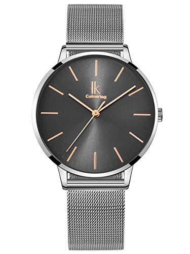 Alienwork Armbanduhr Damen Silber Metall Mesh Armband Edelstahl grau Ultra-flach dünn