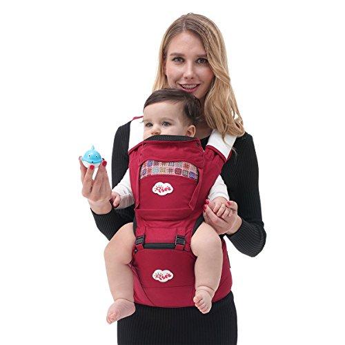 ISEE Marsupio Neonati, Porta Bebè Ergonomico 6-in-1 Per Bambini (3 36 Mesi), Fascia Neonato Puro Cotone Traspirante Marsupio Bambino Rimovibile Zaino