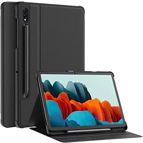Soke Folio Hülle Kompatibel mit Samsung Galaxy Tab S7 11 2020(T870/T875), Prumium PU Rückseite Schutzhülle Magnetisches Smart Cover mit Stifthalter, Mehrfachwinkel, Auto Schlaf/Wach, Grau