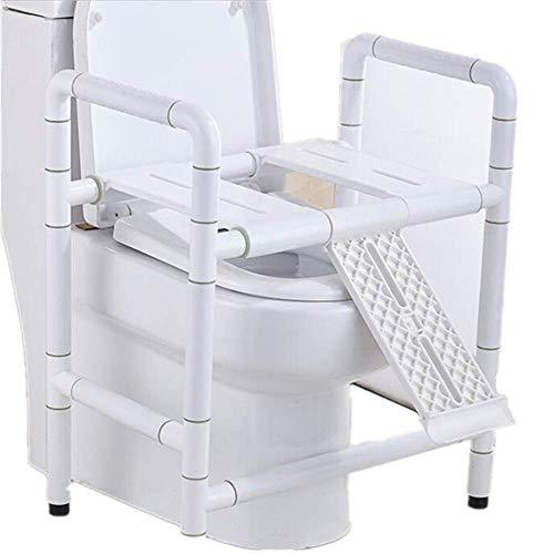 BXU-BG Marco WC, WC de Ancianos Seguridad higiénico apoyabrazos, Ancianos inválidos, Antideslizante Marco de Seguridad Blanca