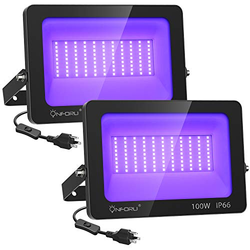 Onforu 2 Pack 100W LED Black Light, Blacklight Flood Light, IP66 Waterproof Outdoor Floodlight with Plug for Dance Party, Stage Lighting, Glow in The Dark, Neon Glow, Body Paint, Aquarium