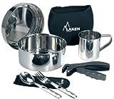 Laken - Kit de cuisine en acier inoxydable - Kit de camping - Avec housse de protection en néoprène pour...