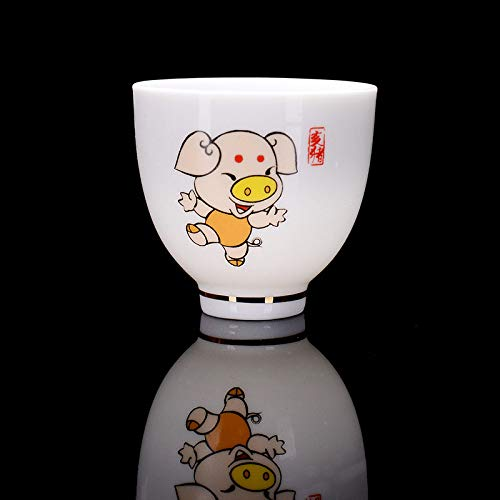 Dollin&Dockin keramische mok thee verkoeling mok Chinese kung-voet thee set cartoon dier, sterrenbeeld, varken Chinese traditionele wijn glas wijn set huis decoratie 4 stuks