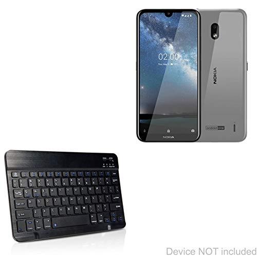 Nokia 2.2 Toetsenbord, BoxWave® [SlimKeys Bluetooth Keyboard] Draagbaar toetsenbord met geïntegreerde opdrachten voor Nokia 2.2 - Jet Black