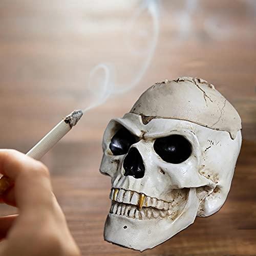 BSTQC Cenicero, Cenicero Pirata Esqueleto con Cubierta Cortavientos Resina Cenicero Retro Adornos para cenicero para terraza de Bar