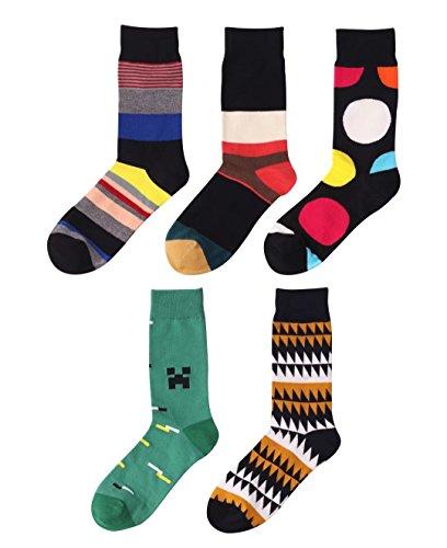 Cinco Pares Calcetines Colores Estampados para Hombre Mujer Algodón. Cómodo y Transpirable Talla: 40-45.