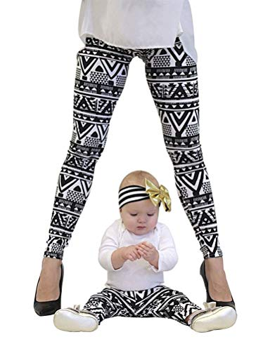 Familia Rope Mamá Navidad Impresión E Vintage Elegantes Hija Leggins Elásticos Skinny Casual Festivo Cómodo Largo Pantalon Familias Mujeres Niños Familias Mujeres Niños ( Color : Negro , Size : S )