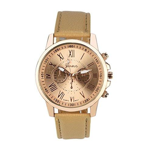 MäDchen Armband Uhr, Huihong Genf RöMische Ziffern Kunstleder Analoge Quarzuhr Für Frauen Geschenk  Geburtstagsgeschenk (B)