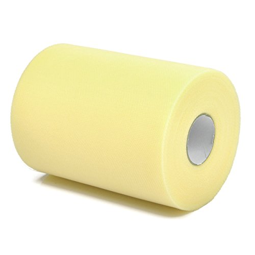 Vsolucky Tulle Roll Spool Tutu Skirt Fabric 6 Inch x 100 Yards (300FT) Wedding Party Table Runner Chair Sash Bow Tutu Skirt Sewing Crafting Fabric Craft Gift Ribbon (Lemon yellow)