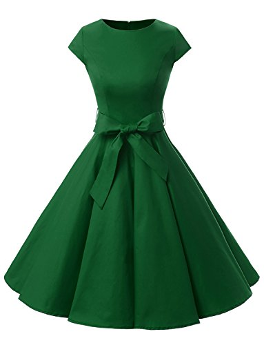 Dressystar DS1956 Women Vintage 1950s Retro Rockabilly Prom Dresses Cap-sleeve S Army Green