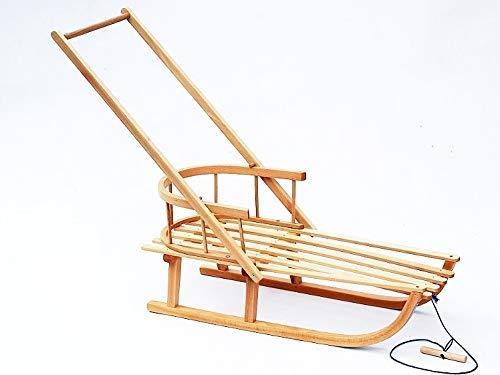 FKL houten slee slee met rugleuning en schuiver voetzak, rugleuning, warmte-bekleding, wintervoetenzak, vele varianten