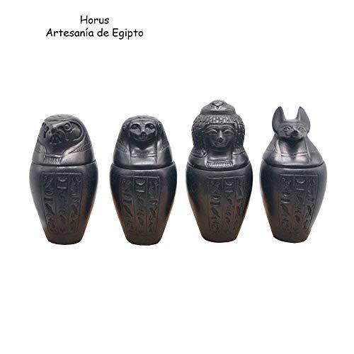 Juego de 4 Vasos canopos de Piedra caliza Gris, Hechos a Mano en Egipto. Cada uno Mide Aproximadamente 9 cm de Altura