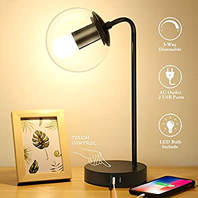Industrial Touch Control Table Lamp with 2 USB Charging Ports, 3-Way Dimmable Vintage Bedside Nightstand Lamp, Glass Shade Desk Reading Desk Lamp for Bedroom Living Room Office, LED Bulb Included