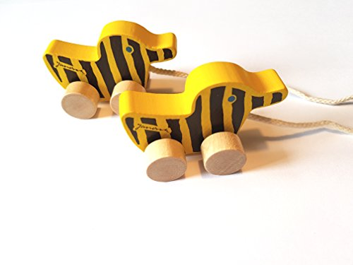 2 x Little Tiger Tigerente Holz 6cm Mit Schnur Ein Set / Made In Germany / Animiert Zum Nachziehen / Das Ideale Geschenk Für Den Nächsten Kindergeburtstag