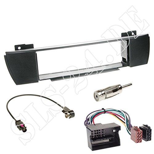 Einbauset für BMW X3 (E83) 2004 - 08/2010 1-DIN KFZ Radio Blende + ISO Adapter + Antenne Einbau Komplettset)
