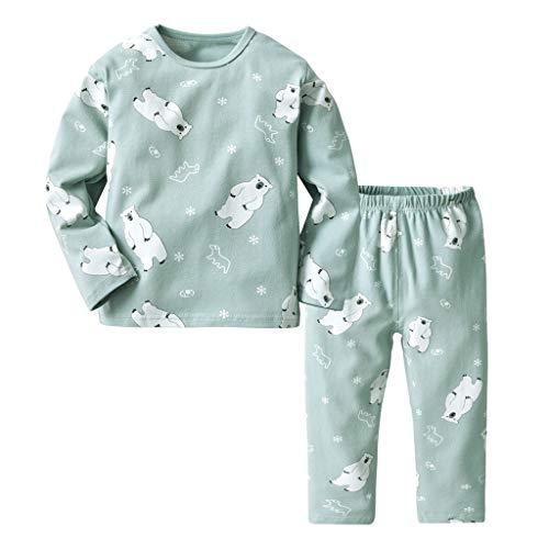 Mamum Enfants Vêtements Ensemble Bébé Garçon Filles 2 Pcs Set Pyjamas Tops + Pantalons Longs (130(5-6Ans))