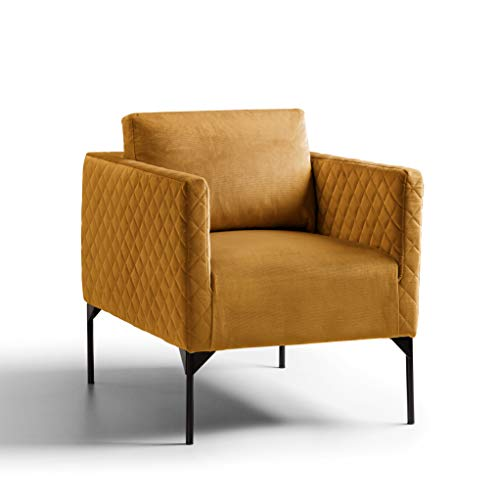 Bali Gold Velvet Armchairs for Living Room or Bedroom | Roseland Furniture Comfy Upholstered Quilted Fabric Vanity Accent Chairs/Tub Chairs with Black Legs for Adults