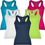 Pack 5 | Camiseta Deportiva de Mujer | Sin Mangas | Espalda Nadadora | 100% Algodón | Corte Entallado (Colores Combinados, M)