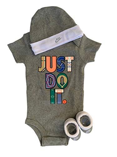 Nike Baby-Set Mütze Strampler Socken 3.TLG Unisex (Grey, 0-6 Monate 60-70 cm)
